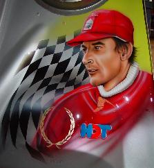 Airbrushed portrait of Peter Brock on air induction scoop