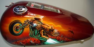Airbrushed, Bat out of hell, meatloaf, murals on Harley Davidson
