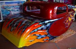 Brandywine candy apple, flames and grafix on half-scale 32 hotrod