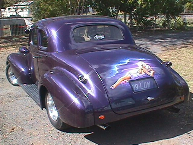 1939 Chevy coupe with airbrushed mural on boot